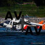 Лихие немецкие пилоты-спасатели вытаскивают людей из воды, стоя на полозьях вертолета